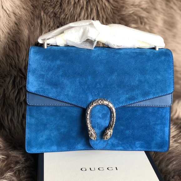 9e0a0549f164 Gucci Bags | Blue Suede Dionysus Chain Shoulder Bag | Poshmark